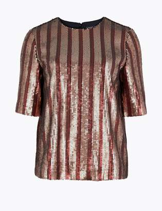 Marks and Spencer Sequin Striped Shell Top