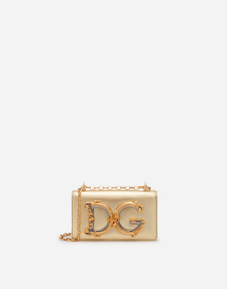 Dolce & Gabbana Girls Phone Bag In Nappa Mordore Leather