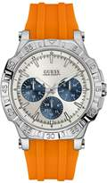 GUESS GUESS? Men's Silver-Tone and Orange Sport Watch