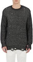 R 13 Men's Distressed Sweater-BLACK