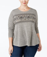 Style&Co. Style & Co Plus Size Embellished Mélange Swing Top, Only at Macy's