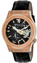 Heritor Automatic Gemini Mens Skeleton Dial Leather-Rose Gold Tone/Black Watch