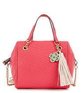 Gianni Bini Studded Tasseled Chevron-Quilted Satchel
