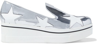 Stella McCartney Binx Star Cutout Faux Mirrored-leather Platform Slip-on Sneakers
