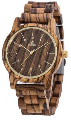 Glowsol Mens Classic Casual Natural Wood Watch Quartz Wooden Band Gift Giving Wrist Watch Zebrawood Zebrawood