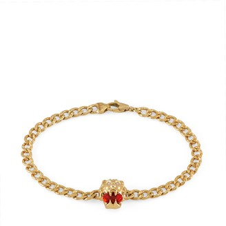 Gucci Lion head 18k bracelet with fire opal