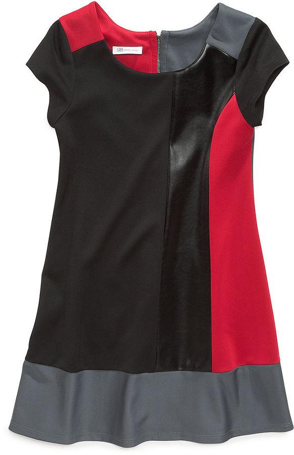 Bonnie Jean Girls Dress, Girls Faux-Leather Color-Blocked Dress