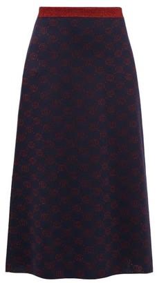 Gucci GG-jacquard Wool-blend Skirt - Blue Multi