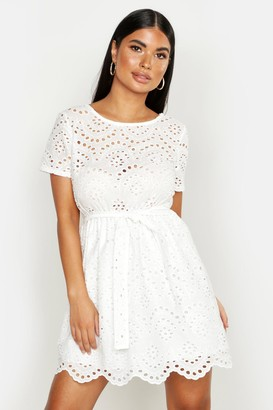boohoo Petite Broderie Anglaise Skater Dress