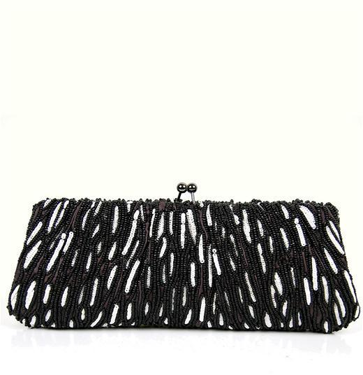 Santi Beaded Bag in Black and White