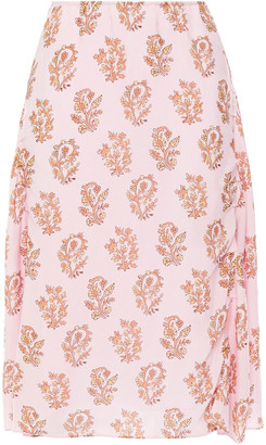 Acne Studios Ruched Floral-print Woven Midi Skirt