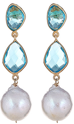 Forever Creations Usa Inc. Forever Creations 18K Yellow Gold Over Silver 18.00 Ct. Tw. Blue Topaz & 15Mm Pearl Drop Earrings