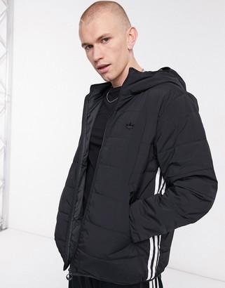 adidas Three Stripe Padded Jacket In Black