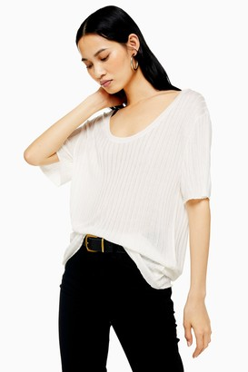 Topshop Ivory Oversized Ribbed Knitted T-Shirt