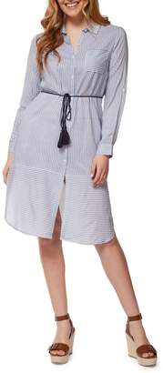 Dex Striped Long-Sleeve Shirtdress