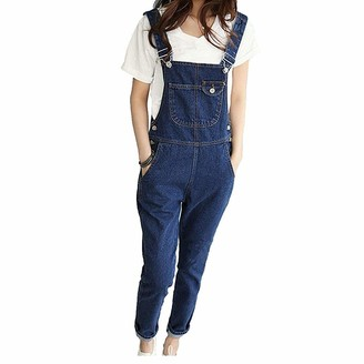 Gaga city Women Overalls Jeans Rompers Casual Jeans Dungarees Sleeveless Playsuit Ladies Denim Overalls Jumpsuit Ankle Length Dark Blue/Label XL