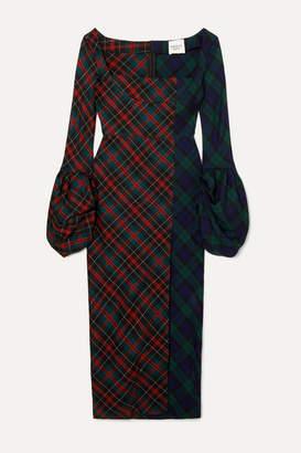 A.W.A.K.E. Mode Thistle Whistle Paneled Checked Twill Midi Dress - Navy