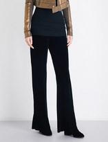 Rick Owens Bias-cut straight velvet trousers