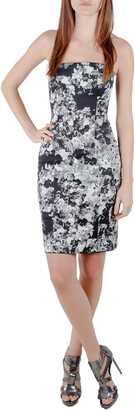 Erdem Black and White Floral Print Stretch Cotton Corset Bodice Dress S