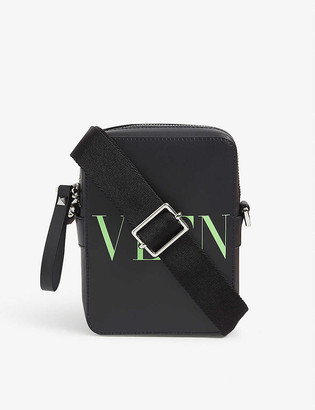Valentino Branded leather cross-body bag