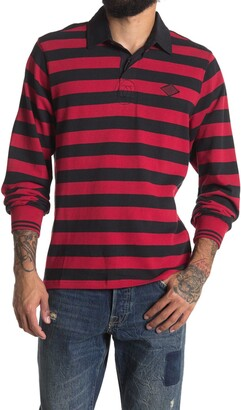 Ovadia And Sons Rugby Striped Long Sleeve Polo Shirt