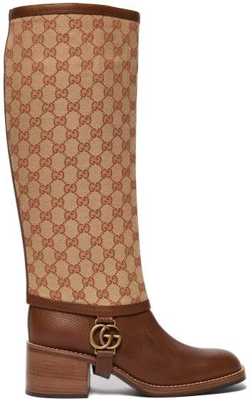 Gucci Lola Gg Supreme Gaiter Leather Boots - Womens - Tan