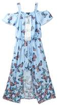 My Michelle mymichelle Off the Shoulder Butterfly Print Walk Thru Maxi Romper (Big Girls)