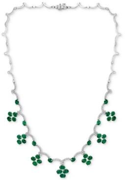 "Effy Emerald (12-1/3 ct. t.w.) & Diamond (1-1/2 ct. t.w.) 18"" Statement Necklace in 14k White Gold"
