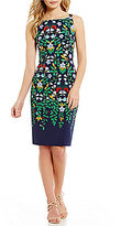 Adrianna Papell Sleeveless Printed Blooms Sheath Dress