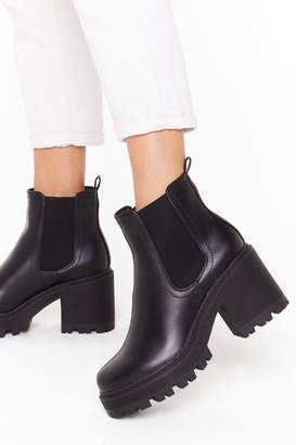 Nasty Gal Womens Stand With Us Faux Leather Cleated Boots - black - 3