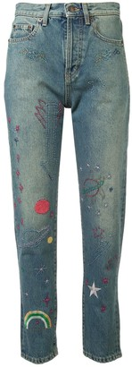 Saint Laurent embroidered high-rise jeans