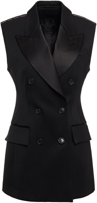 Burberry Double-breasted Satin-trimmed Stretch-wool Twill Vest