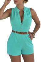 Prograce Women's Sexy V neck Button High Waist Sleeveless Short Jumpsuit Playsuit XXXL