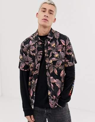 Volcom Resorto Vallarta floral print shirt in pink-Black