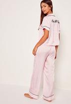 Missguided Graphic Striped Pyjama Set Pink