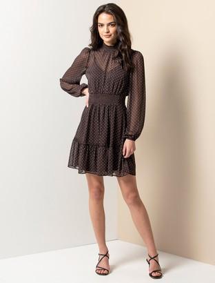 Forever New Alice Shirred-Neck Skater Dress - Pin Spot - 10