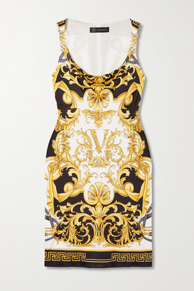 Versace - Printed Jersey Mini Dress - Black