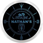 AdvPro Clock ncpr0108-b NATHAN'S Bar & Grill Food Pub Beer Pub LED Neon Sign Wall Clock