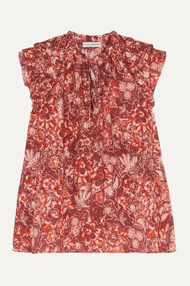 Ulla Johnson Rina Ruffled Floral-print Cotton-blend Voile Blouse - Brick