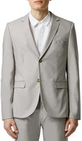 Topman Light Grey Chambray Skinny Fit Suit Jacket
