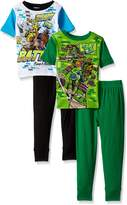 Nickelodeon Boys' Big Boys' Ninja Turtles 4-Piece Cotton Pajama Set