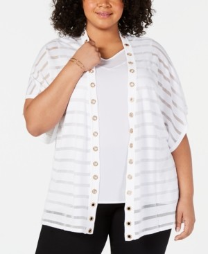 Belldini Plus Size Shadow-Striped Grommet Trim Cardigan