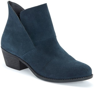 Me Too Pull-On Suede Block Heel Booties - Zest
