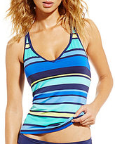 Jag Caribbean Sunset Stripe Criss Cross Back Tankini