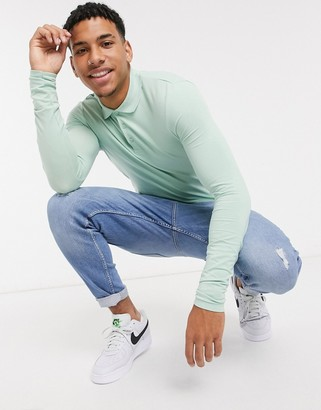 ASOS DESIGN organic long sleeve muscle fit jersey polo in green