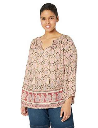 Lucky Brand Women's Plus Size Paisley Border Print Peasant TOP