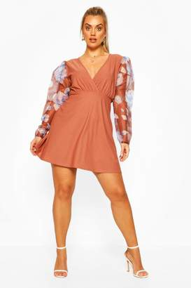 boohoo Plus Floral Organza Puff Sleeve Skater Dress