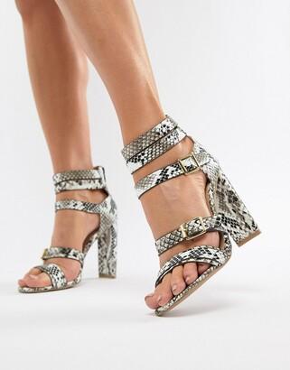 Qupid Heeled Snake Sandals-Multi