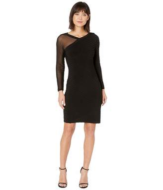 Adrianna Papell Women's Illusion BIAS Pintucked Dress