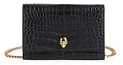 Alexander McQueen Women's Mini Skull Croc-Embossed Leather Crossbody Bag